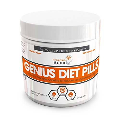 GENIUS DIET PILLS – The Smart Appetite Suppressant for Safe Weight Loss, All Natural 5-HTP & Saffron Supplement Clinically Proven As Cortisol Manager, Mood Support and Stress Reduction, 50 Veggie Caps