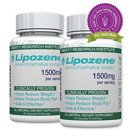 Lipozene Green – All Natural Weight Loss Supplement – Appetite Suppressant and Control – Two Bottles 60 Veggie Capsules – Stimulant, GMO, Gluten and Soy Free
