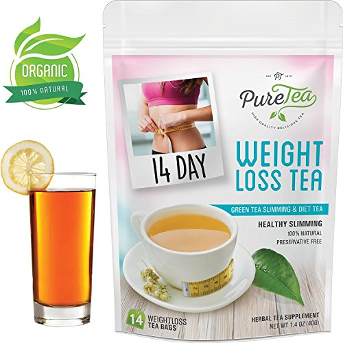 PureTea Weight Loss Tea, Organic Diet Tea, Gentle Energy and Appetite Control, Reduce Bloating and Constipation for Natural Weight Loss – 14 Day Teatox